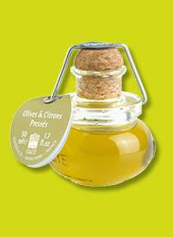 Petit flacon d'huile d'olive au citron